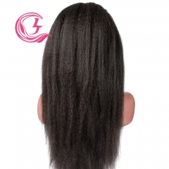 Virgin Hair Yaki Straight Lace Front Wig 130% Density  Medium Brown Lace Wholesale