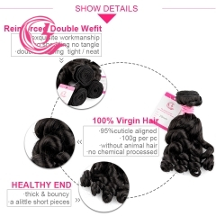 Virgin Hair of Loose Curly Bundle Natural black color 100g With Double Weft For Medium High Market