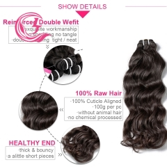 Unprocessed Raw Hair indian wave Bundle Natural black color 100g With Double Weft