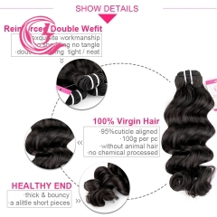 Virgin Hair of indian wave Bundle Natural black color 100g With Double Weft For Medium High Market