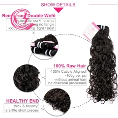 Unprocessed Raw Hair Natural Wave Bundle Natural black color 100g With Double Weft