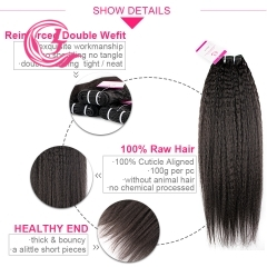 Unprocessed Raw Hair Yaki Straight Bundle Natural black color 100g With Double Weft