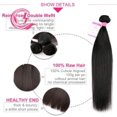 Unprocessed Raw Hair Straight Bundle Natural black color 100g With Double Weft