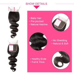 Virgin Hair of Natural Wave  4X4 closure Natural black color 130 density For Medium High Marke