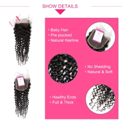 Virgin Hair of Jerry Curl  Natural Wave 4X4 closure Natural black color 130 density For Medium High Market
