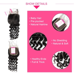 Virgin Hair of Loose Curl  4X4 closure Natural black color 130 density For Medium High Marke
