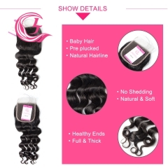Virgin Hair of Ocean Curl  4X4 closure Natural black color 130 density For Medium High Marke