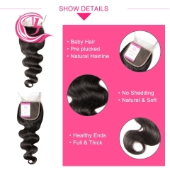 Virgin Hair of Indian Wave 4X4 closure Natural black color 130 density For Medium High Marke