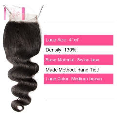 Virgin Hair of Body Wave  4X4 closure Natural black color 130 density For Medium High Market