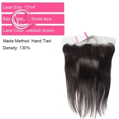 Virgin Hair of Straight 13X4 frontal  Natural black color 130 density For Medium High Market