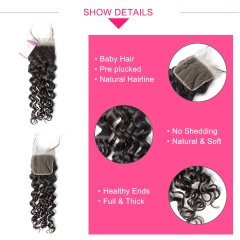 Virgin Hair of  Italian Curl Natural Wave 4X4 closure Natural black color 130 density For Medium High Market