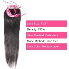 Virgin Hair of Straight 4X4 closure Natural black color 130 density For Medium High Marke
