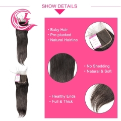 Unprocessed Raw Hair Straight 4x4 Closure Natural Color Medium Brown 130 density
