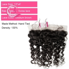 Unprocessed  Raw Hair Natural Wave 13x4 Frontal Natural Color Medium Brown 130 density