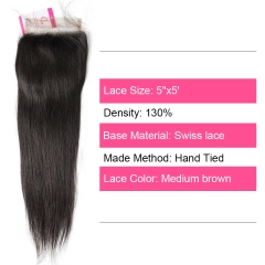 Unprocessed Virgin hair Straight 5x5 Closure Natural Color Medium Brown 130 density