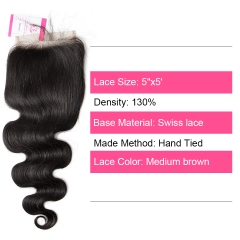 Unprocessed Virgin hair Indian Wave  5x5 Closure Natural Color Medium Brown 130 density