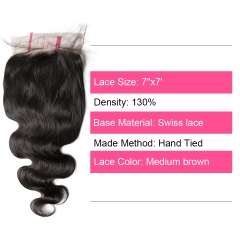 Unprocessed Raw hair  Indian Wave  7x7 Closure Natural Color Medium Brown 130 density