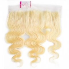 Unprocessed  Raw Hair Body wave 13x4 Frontal 613# Color Transparent lace 130% density