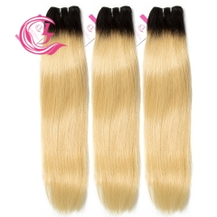 Unprocessed Raw Hair Straight Bundle 1B#613 Blonde 100g With Double Weft