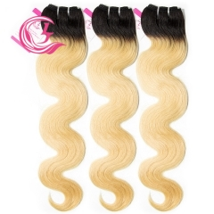 Unprocessed Raw Hair Body wave Bundle 1B#613 Blonde 100g With Double Weft