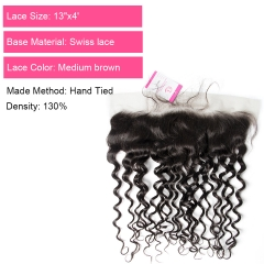Virgin Hair of French Wave 13X4 frontal  Natural black color 130 density For Medium High Market