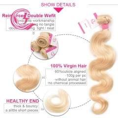 Virgin Hair of Body Wave Bundle #613 Blonde 100g With Double Weft For Medium High Market