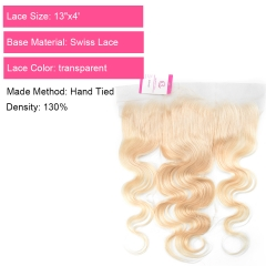 Virgin Hair of Body wave 13x4 Frontal 613 # 130% density With Transparent Lace For Medium High Market