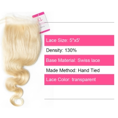 Virgin Hair of Body Wave 5x5 closure 613 # 130% density With Transparent Lace For Medium High Market