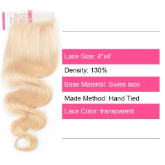 Virgin Hair of Body wave 4X4 closure 613 # 130% density With Transparent Lace For Medium High Market
