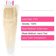 Virgin Hair of Straight 5x5 closure 613 # 130% density With Transparent Lace For Medium High Market