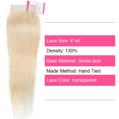 Virgin Hair of Straight 4X4 closure 613 # 130% density With Transparent Lace For Medium High Market
