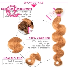 Virgin Hair of Body Wave Bundle 30# 100g With Double Weft For Medium High Market