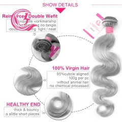 Virgin Hair of Body Wave Bundle Gray# 100g With Double Weft For Medium High Market