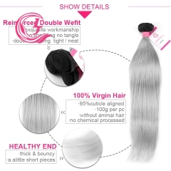 Virgin Hair of Straight Bundle 1b/Gray# 100g With Double Weft For Medium High Market