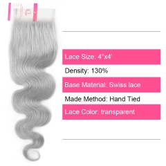 Virgin Hair of Body wave 4X4 closure Gray# 130% density With Transparent Lace For Medium High Market