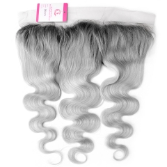Virgin Hair of Body wave 13x4 Frontal 1b/Gray# 130% density With Medium brown Lace For Medium High Market