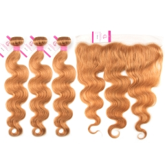 Virgin Hair of Body wave 13x4 Frontal 30# 130% density With Transparent Lace For Medium High Market