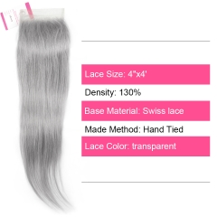 Virgin Hair of Straight 4X4 closure Gray# 130% density With Transparent Lace For Medium High Market