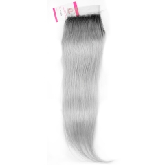 Virgin Hair of Straight 4X4 closure 1b/Gray 130% density With Medium brown Lace For Medium High Market