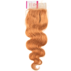Virgin Hair of Body wave 4X4 closure 30# 130% density With Transparent Lace For Medium High Market