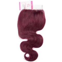 Virgin Hair of Body wave 4X4 closure 99j# 130% density With Medium Brown Lace For Medium High Market